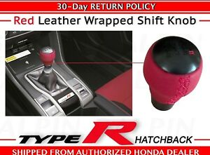 Genuine Oem Honda Civic Type R 6 Speed Red Leather Wrapped Shift Knob