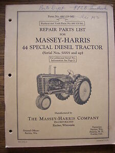 Massey Harris 44 Special Diesel Parts Manual