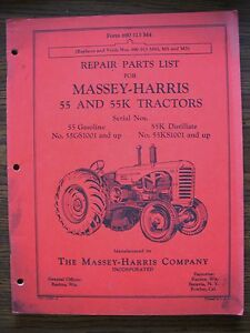 Massey Harris 55 55k Parts Manual