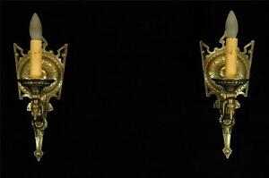 Antique Pair 1920 S Restored Tudor Medieval Gothic Spade Brass Wall Sconces