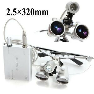Fast Dental Loupes 2 5x 320mm Surgical Medical Binocular W Led Head Light Lamp
