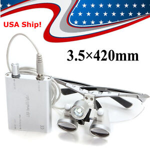 Usa Silver Dental Loupes 3 5x 420mm Surgical Binocular Led Head Light Lamp