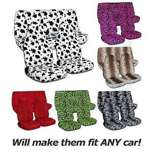 Animal Print Car Seat Covers full Set Semi custom Zebra cow leopard tiger