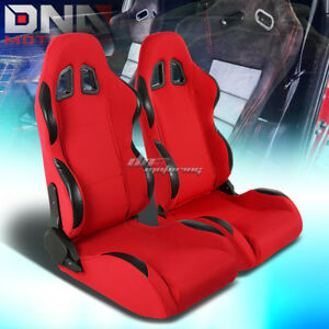 Full Reclinable Left right Pair Red Cloth Black Trim Bucket Racing Seats sliders