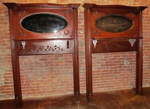 Pair Of Victorian Carved Antique Mantles With Mirrored Galleries Extra Rare