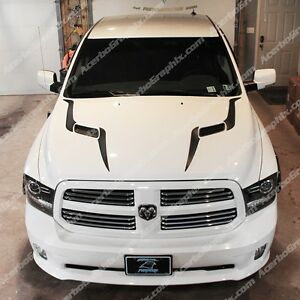 09 17 Dodge Ram 1500 Srt Sport Hood Stripes Inlay Decal Matte Black