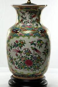 Famille Rose Chinese Porcelain Vase Lamp Birds Butterflies And Grecian Key