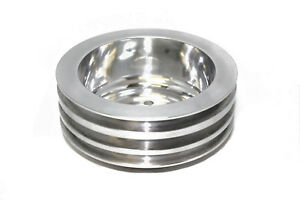 Sbc Polished Billet Aluminum Crank Pulley Triple 3 Groove For Long Water Pump