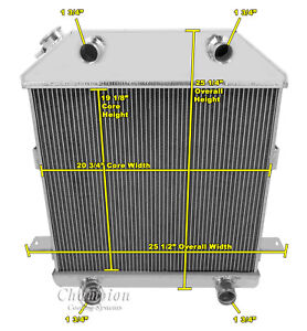 1939 1940 1941 Ford Deluxe Flathead Champion 3 Row Aluminum Radiator Cc4001fh