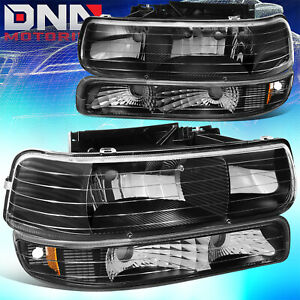 For Chevy Silverado 1999 2002 Black Housing Amber Corner Bumper Headlight Light
