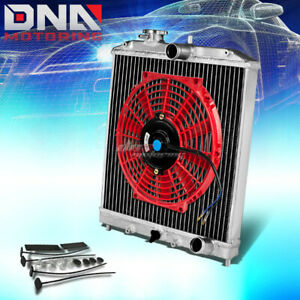 Aluminum 2 Row Core Performance Radiator 10 Red Fan For 92 00 Civic Del Sol