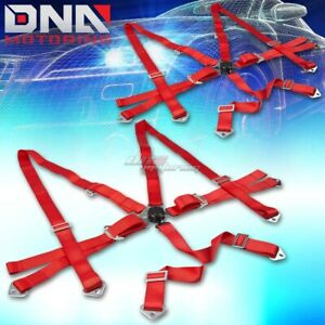 Pair Universal 6 point 3 Red Nylon Strap Harness Safety Camlock Seat Belt belts