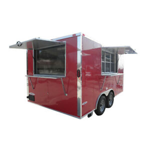 Concession Trailer 8 5 x14 Red Vending Food Bbq Catering