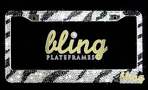 7 Rows Bling Zebra License Plate Frame Rhinestone Car Clear Sparkly Black Silver
