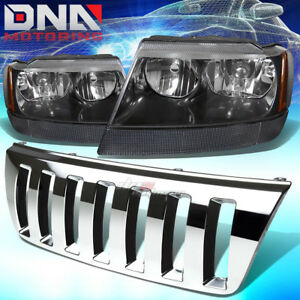 For 99 04 Jeep Grand Cherokee Wj Chrome Front Grill black amber Headlights Lamps