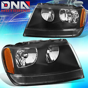For Jeep Grand Cherokee 99 04 Wj Laredo Limited Black amber Headlights 4x4