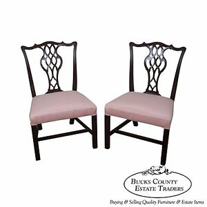 Schmieg Kotzian Antique Pair Of Chippendale Style Side Dining Chairs