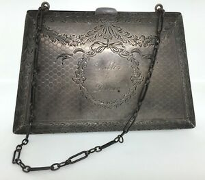 Sterling Silver Vintage Carved Intricate Design Small Purse