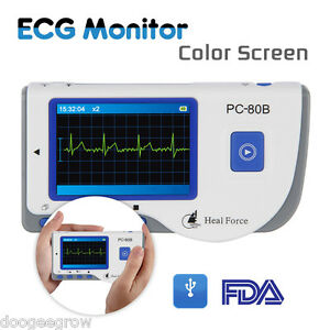 Heal Force Color Handheld Easy Ecg Ekg Portable Home Heart Monitor Software Usb