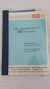 Cnc Automatic Tns With Traub Tx 8 Control Programming Operating Instructions
