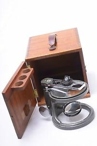 C Baker London Section dissecting Microscope In Mahogony Wooden Box