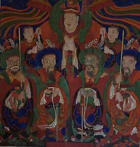 Very Fine Rare Joseon Dynasty Korean Bulhwa Painting On Thick Cotton