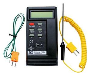 K Type Tes 1310 Digital Thermocouple Thermometer 2 X Probes 1300 c Bga Hvac