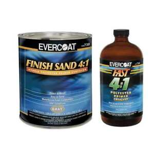 Evercoat 738 Finish Sand Polyester Primer Gray 1 Gallon With 733 Catalyst 1 Qt