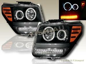 2007 2011 Dodge Nitro Dual Twin Ccfl Halo Projector Led Headlights Black New
