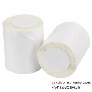 12 Rolls 4x6 Direct Thermal Shipping Labels 250 roll For Zebra Lp2844 Zp 450 Ups