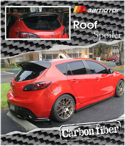 Ms Style Carbon Fiber Rear Roof Spoiler Wing For 10 13 Mazda 3 Mazda3 Hatch 5dr