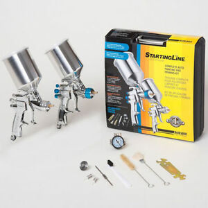 2 Devilbiss Startingline Hvlp Spray Paint Guns basecoat Clearcoat Primer Gun Kit