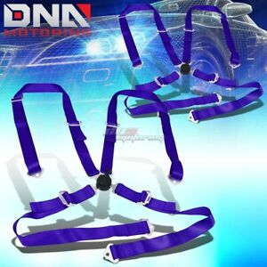 Pair Universal 4 point 2 Blue Nylon Strap Harness Safety Camlock Seat Belt