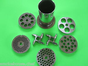 12 8pc Meat Grinder Mincer Sausage Stuffer Plate Knife Tube Stainless Steel