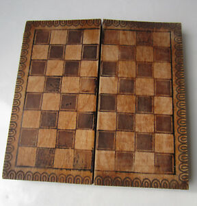 Antique Vintage Wooden Checkerboard Game Chess Box 1968 Ornate Pokerwork