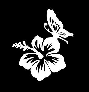 Butterfly And Hibiscus Vinyl Decal Sticker Car Window Laptop Wall