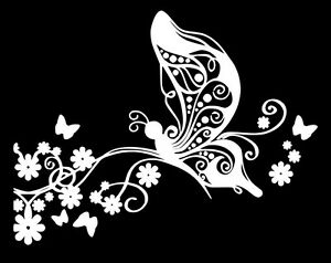 Butterfly And Flowers Vinyl Decal Sticker Car Window Laptop Wall