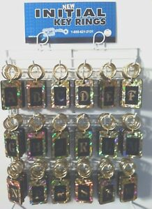 New Reflective Initial Key Rings Chains 216 Pieces W display Rack Usa Made