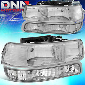For Chevy Silverado 1999 2002 Chrome Housing Clear Corner bumper Headlight Light