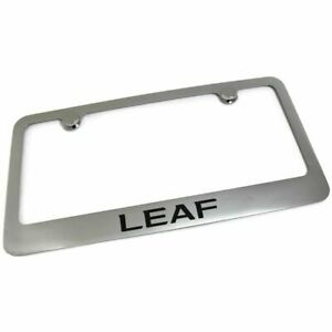 Nissan Leaf License Plate Frame Number Tag Rotary Engraved Chrome Plated Brass