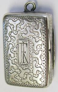 1829 Antique Georgian Gilt Sterling Silver Birmingham England Vinaigrette Box