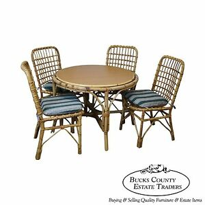 Vintage Rattan Bamboo Round Patio Sunroom Dining Table Chairs
