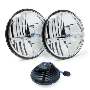 Pair Of 7 Round High Low Beam Sealed 5 Led Headlight Replacement Lamps