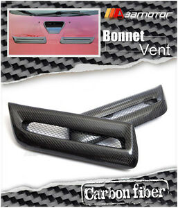 Twin Carbon Bonnet Scoop Vent Hood Air Vents For Mitsubishi Evolution X Evo 10