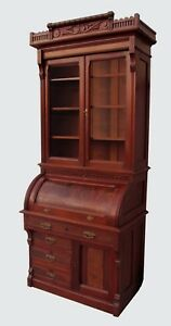 Excellent Antique Victorian Black Walnut Cylinder Roll Top Secretary Desk