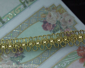 Antique Vtg Weighty Small Gold Metal Loop Ribbonwork Braid Lace Trim Doll Dress