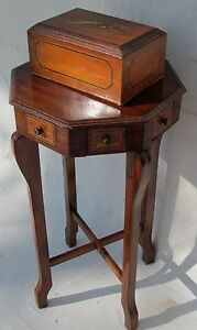 Exceptional Folk Art Inlaid Antique Smoking Stand With Matched Inlaid Humidor
