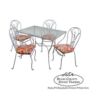 Salterini Art Nouveau Style Vintage Iron 5 Piece Patio Table Chair Garden Set