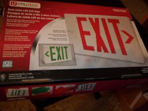 Utilitech Dual color Led Exit Sign Battery Backup Double Sided Exit Sign
