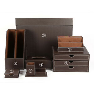 Office Desk Organizer 7pcs set Desk Drawer Cabinet Tissue Holder Card Pencil Box